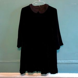 Black Velvet COS Dress with Peter Pan Collar